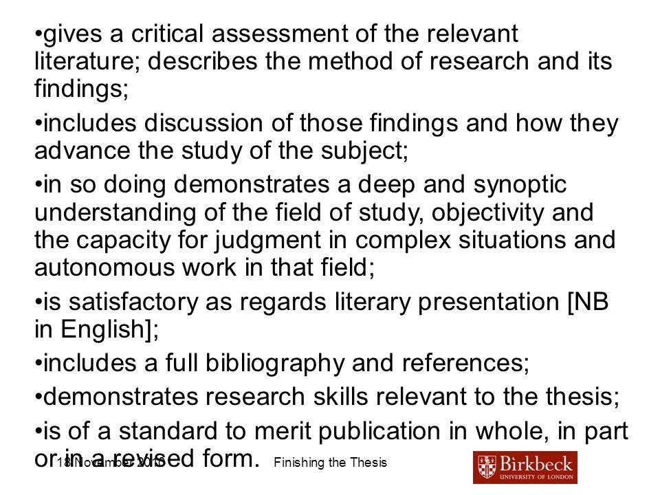 is satisfactory as regards literary presentation [NB in English];